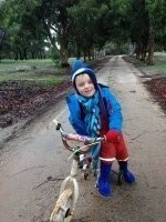 Nash and Mum's bike ride to the gate at Pomonal - July 2014