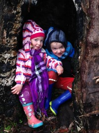 Taylor and Nash in the tree - Splitters Falls Grampians - July 2014